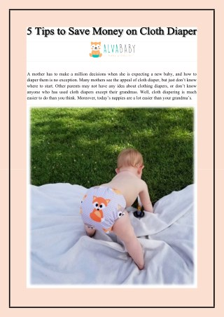 5 Tips to Save Money on Cloth Diaper
