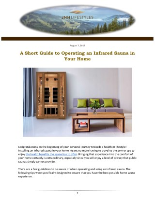 A Short Guide to Operating an Infrared Sauna in Your Home