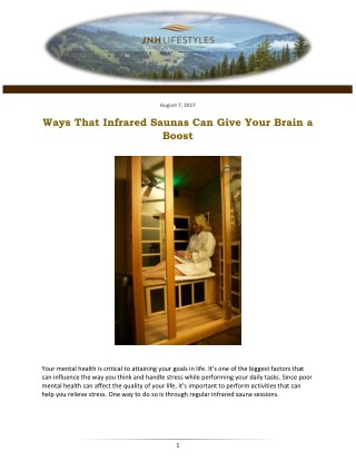 Ways That Infrared Saunas Can Give Your Brain a Boost