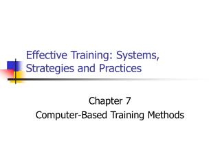 Effective Training: Systems, Strategies and Practices