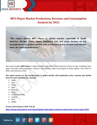 MP3 Player Market Production, Revenue and Consumption Analysis by 2022