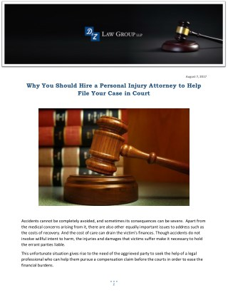 Why You Should Hire a Personal Injury Attorney to Help File Your Case in Court
