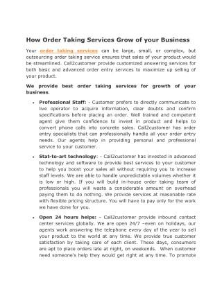 Order Taking Service