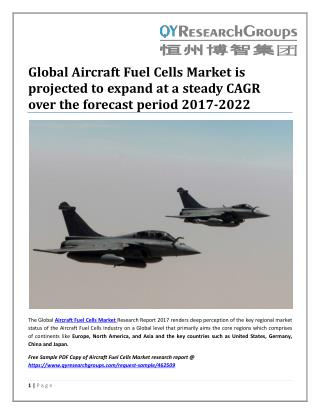 Global Aircraft Fuel Cells Market is projected to expand at a steady CAGR over the forecast period 2017-2022