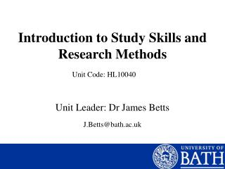Introduction to Study Skills and Research Methods