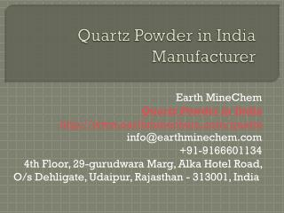 Quartz Powder in India Manufacturer