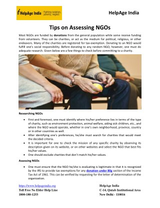 Tips On Assessing NGOs
