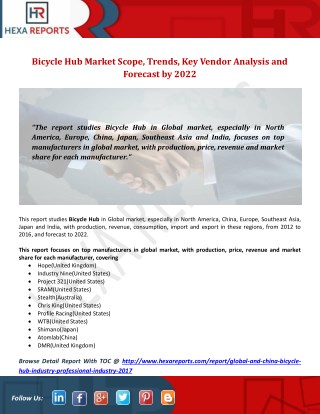 Bicycle Hub Market Scope, Trends, Key Vendor Analysis and Forecast by 2022