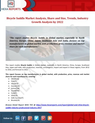 Bicycle Saddle Market Analysis, Share and Size, Trends, Industry Growth Analysis by 2022