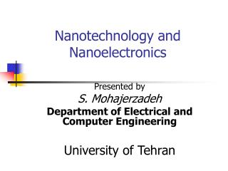Nanotechnology and Nanoelectronics