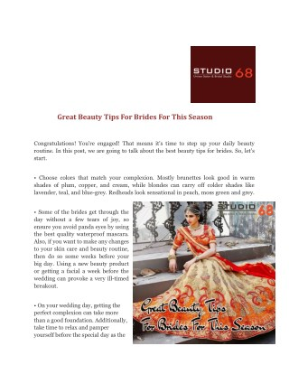 Great Beauty Tips For Brides For This Season