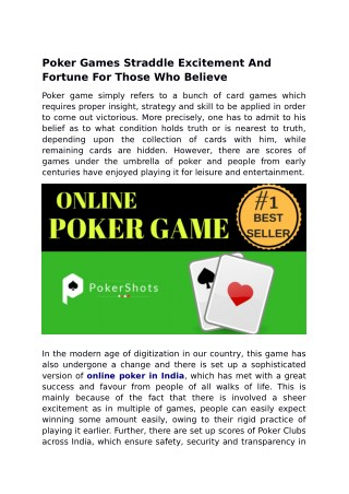 Poker Games Straddle Excitement And Fortune For Those Who Believe