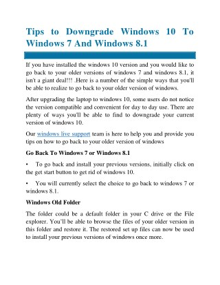 Tips to Downgrade the windows 10 to windows 7 and windows 8.1