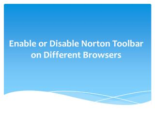 Enable or Disable Norton Toolbar on Different Browsers