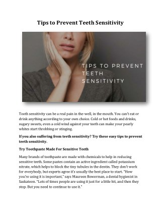 Tips to Prevent Teeth Sensitivity