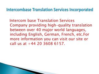 Intercombase Translation Services Incorporated