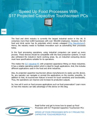 Speed Up Food Processes With S17 Projected Capacitive Touchscreen PCs