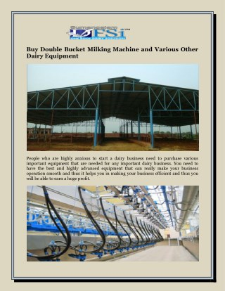 Buy Double Bucket Milking Machine and Various Other Dairy Equipment