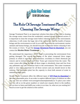 The Role Of Sewage Treatment Plant In Cleaning The Sewage Water