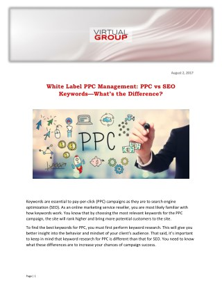 White Label PPC Management: PPC vs SEO Keywords—What's the Difference?