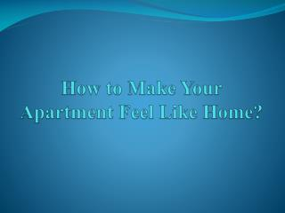 How to Make Your Apartment Feel Like Home