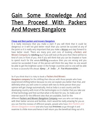 Gain Some Knowledge And Then Proceed With Packers And Movers Bangalore