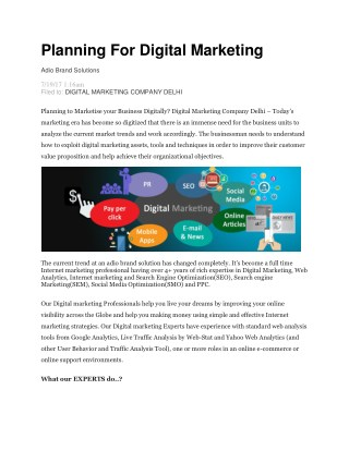 Planning For Digital Marketing