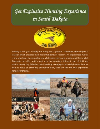 Get Exclusive Hunting Experience in South Dakota