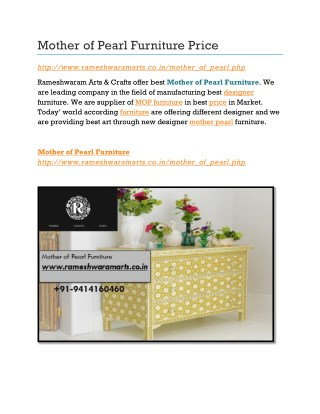 Mother of Pearl Furniture Price
