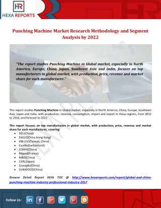 Punching Machine Market Research Methodology and Segment Analysis by 2022
