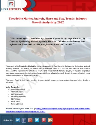 Theodolite Market Analysis, Share and Size, Trends, Industry Growth Analysis by 2022