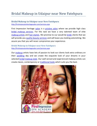 Bridal Makeup in Udaipur near New Fatehpura