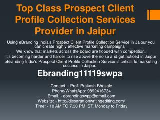 Top Class Prospect Client Profile Collection Services Provider in Jaipur