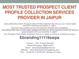 Most Trusted Prospect Client Profile Collection Services Provider in Jaipur