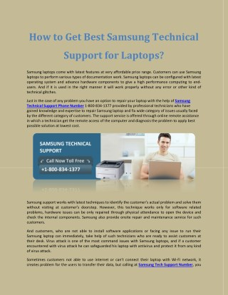 How to Get Best Samsung Technical Support for Laptops?