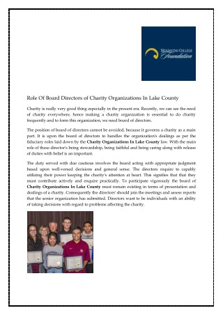 Role Of Board Directors of Charity Organizations In Lake County