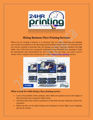 Hiring Business Flyer Printing Services - 24hrprinting.ca
