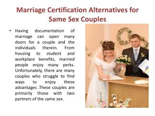 Marriage Certification Alternatives for Same Sex Couples