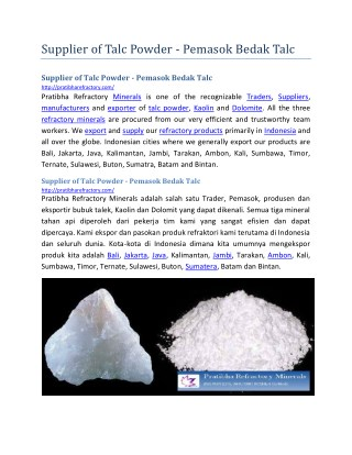 Supplier of Talc Powder  Pemasok Bedak Talc