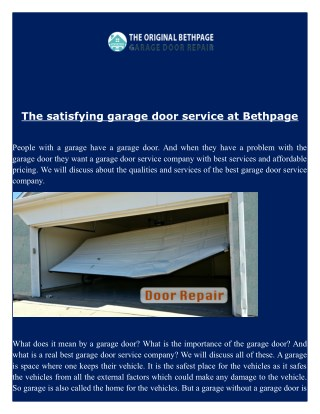 Garage Door Repair services in Bethpage NY - Fast Service - Call (516) 279 5508