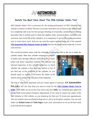 Details You Must Have About The CNG Cylinder Hydro Test