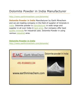 Dolomite Powder in India Manufacturer