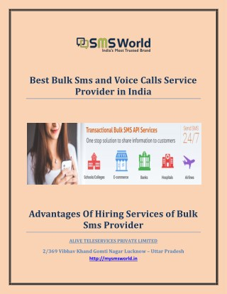 Best Bulk Sms and Voice Calls Service Provider in India