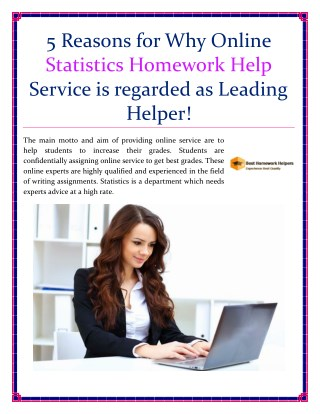 Get 5 Reasons For Why Online Statistics Homework Help Service Is Regarded As Leading Helper!