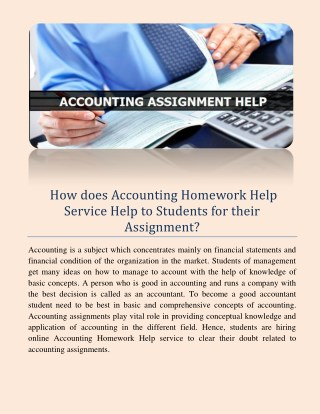 How does accounting homework help service help to students for their assignment?