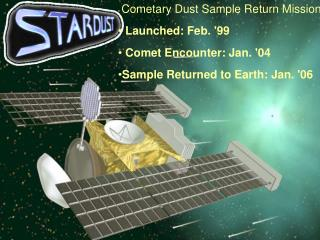 Cometary Dust Sample Return Mission   Launched: Feb. 99  Comet Encounter: Jan. 04 Sample Returned to Earth: Jan. 06