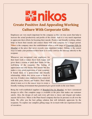 Create Positive And Appealing Working Culture With Corporate Gifts