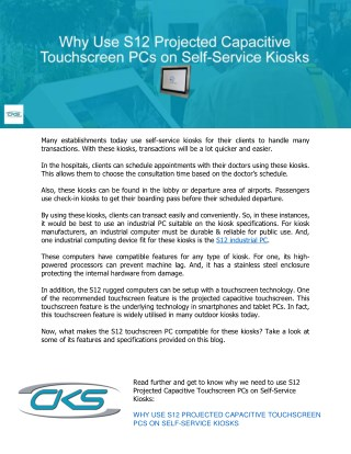 Why Use S12 Projected Capacitive Touchscreen PCs on Self-Service Kiosks