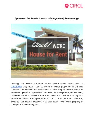 Apartment for rent in canada   georgetown  scarborough