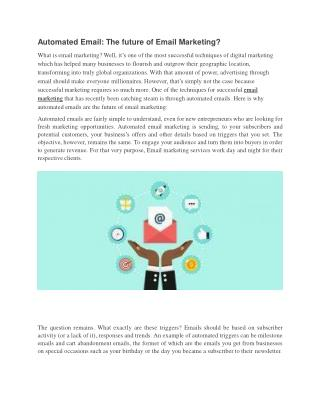 Automated Email: The future of Email Marketing?